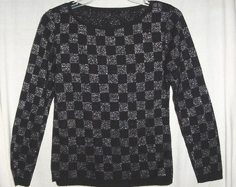 Vintage 80s Black Metallic Silver Checkerboard Pullover Sweater S
