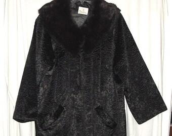 Vintage 50s Black Ladies Coat X Large Rabbit Fur Collar, Faux Persian Lamb