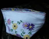 Handmade bag created using vintage embroidered textiles