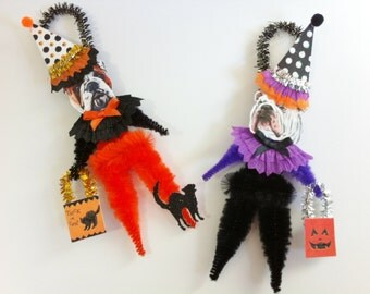 Bulldog HALLOWEEN Trick or Treat vintage style CHENILLE ORNAMENTS set of 2