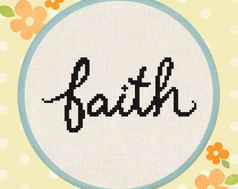 Cursive Faith. Text Modern Simple Cute Counted Cross Stitch Pattern PDF File. Instant Download