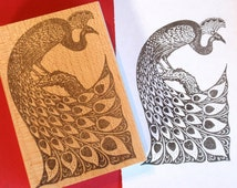 Peacock Bird Rubber Stamp  - Handmade by BlossomStamps