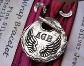 Angel Wings Jewelry, Angel Jewelry, Custom Angel Wings Silk Wrap Bracelet, Silver Monogram Bracelet, Custom Angel Wings Monogram Jewelry