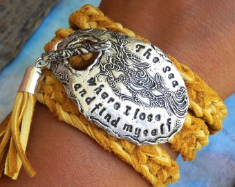 Beach Lover Gift Jewelry, Beach Leather Wrap Bracelet Gift for Women, Personalized Leather Wrap Bracelet, STERLING SILVER Gift, Beachy Gift
