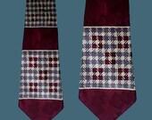 Vintage 50s Wide Satin Tie Houndstooth Print