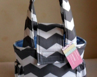 Small Gray Chevron Toddler Short Trip Diaper Bag CHOICE OF INTERIOR