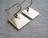 Brass & Gold Square Earrings
