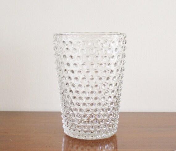 large vintage hobnail clear glass vase. Black Bedroom Furniture Sets. Home Design Ideas