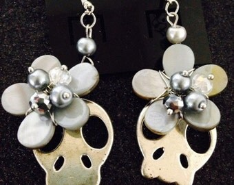 Day of the Dead Día de los Muertos Silver Skull Slice Earrings With Flowers Pearls and crystal