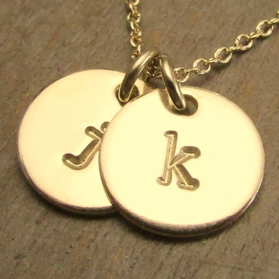 Two charm initial necklace hand stamped gold filled gold for How do you make hand stamped jewelry