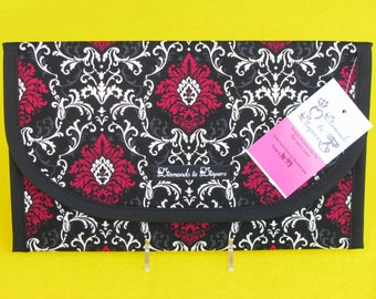 Juliette La Rouge Damask Diaper and Wipes Case Holder Clutch
