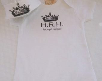 """Baby Girl Onesie or TShirt  for HRH """"Her Royal Highness"""", Custom Baby Girl Onesie, New Baby Gift, baby girl gift, bodysuit, girl shower gift"""
