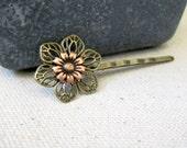 Daisy Bobby Pin, Boho Hair Pin, Bohemian, Daisy Hair Pin, Copper Ox Daisy, Flower Bobby Pin, Hair Pin, Woodland, Nature Inspired, Hippie