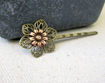 Daisy Bobby Pin, Boho Hair Pin, Bohemian, Daisy Hair Pin, Copper Ox Daisy, Flower Bobby Pin, Hair Pin, Woodland, Nature Inspired, Hippie