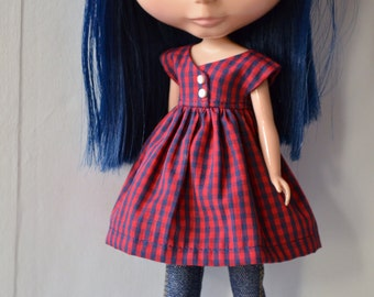 Dress made of cottonfabric for Blythedoll