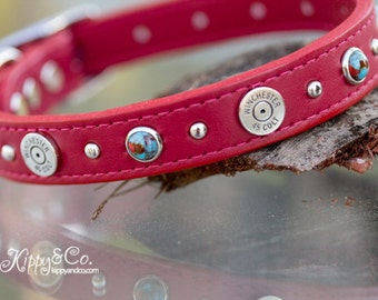 Red Colt 45 Winchester Dog Collar, Red Leather Dog Collar, 45 Winchester Dog Collar, Custom Leather Dog Collar, Turquoise Leather Dog Collar