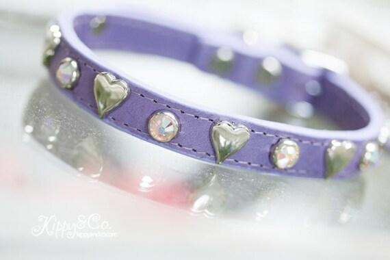 Dog Collar//Leather Dog Collar//Jeweled Dog Collar//Crystal Collar//Small Dog Collar//Pet Collar//Heart Crystal Collar