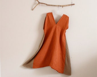 rust ginger linen sparrow tunic dress made to order