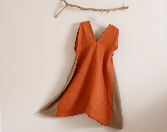 rust ginger linen sparrow tunic dress made to order / linen party dress / linen wedding dress idea / sleeveless dress with comfy hip room