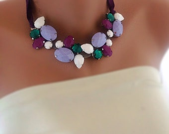 Statement Jewelry Bold Bridal Neon Collar Necklace Bridesmaids Gift