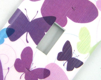 Purple Butterflies Light Switch Cover Switchplate