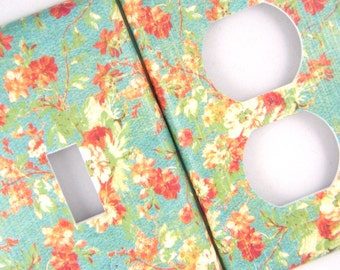Vintage Flowers Light Switch Cover Outlet Cover Switchplate