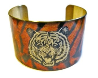 TIGER cuff bracelet brass or aluminum Gifts for her