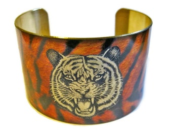 TIGER cuff bracelet brass or stainless steel Gifts for her