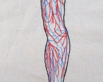 Anatomical Leg Embroidery Pattern - PDF