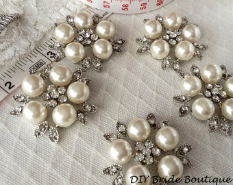 Rhinestone and Pearl Brooch, Ivory pearl brooch, pearl brooch, wedding brooch, bridal brooch