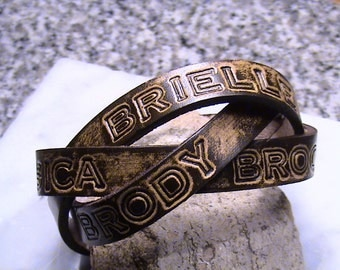 PERSONALIZED - Family - BFF - Leather Mystery Braid Wristband - 1.25 inch wide band