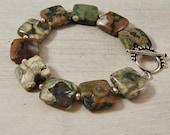 Rhyolite Bracelet Rainforest Jasper Green Bracelet Sterling Silver