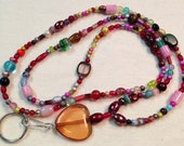 Many Beautiful Colors  Hand beaded Lanyard Id Badge Holder  Pink Red Green Clear Topaz and more Original by Diana  36 inches