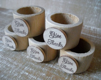 Thanksgiving Place Setting Wood Napkin Rings with Give Thanks - Set of 10 - Item 1582