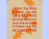 Printable Fall Leaves Quote 8 x 10 Wind is Rising Fall Print Autumn Print Fall Foliage Print Fall Poem Print Autumn Leaves Print Poetry