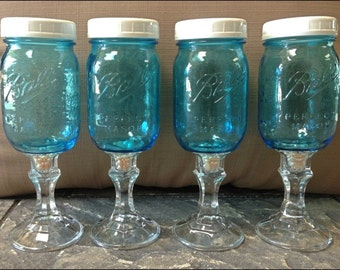 4 Mediterranean Blue Mason Jar Wine Glasses with Turquoise or Fresh Water Pearls and WHITE Lids