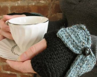 Lady Bows | Crochet Fingerless Gloves with Bows, Black Merino Wool, Spruce Tweed - Ready to Ship