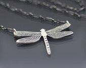 Etched Sterling Silver Dragonfly Necklace - Oxidized Nature Jewelry - MADE TO ORDER