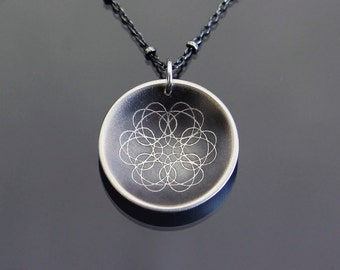 Geometric Silver Necklace, sterling silver mandala necklace, oxidized silver spiro flower necklace
