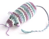 Catnip Mouse Cat Toy with Burgundy, Teal, and White Stripes