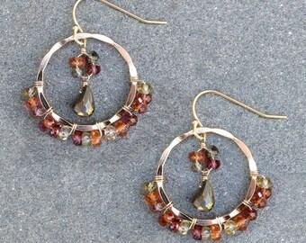 Tundra Garnet Hoops, Boho Bohemian Chic  Style Jewelry