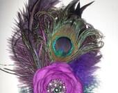 Custom Wedding, Peacock Wedding, Purple,Purple Flower, Hair fascinator, 1920s, Feather fascinator, Bride, Bridal, Flower girl