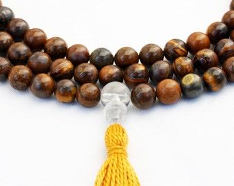 Tiger Iron & Baltic Amber Mala Necklace - Buddhist Rosary - Strength and Stamina Mala