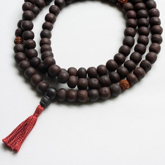 Bodhiseed Mala Prayer Bead Necklace with Rudraksha Markers - Buddhist Rosary Necklace