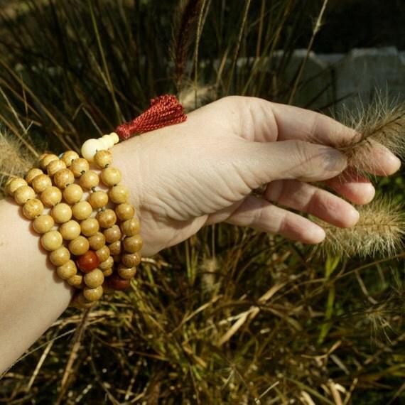 Wood Stretch Wrap Mala Bracelet - 108 Bead Stretch Nangka Wood Mala w Turquoise Howlite & Red Ceramic - Mala Bracelet