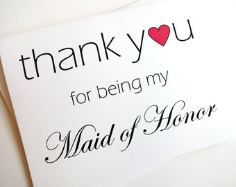 Maid of Honor Wedding Thank You Card with heart design
