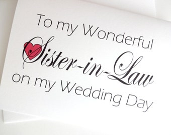 Sister In Law Wedding Card - Wedding Thank You for Sister-in-Law Card