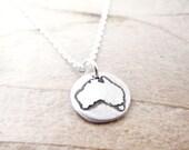 Tiny Australia necklace, silver map jewelry, Aussie necklace, Australia jewelry