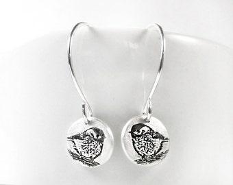 Tiny Chickadee earrings in silver