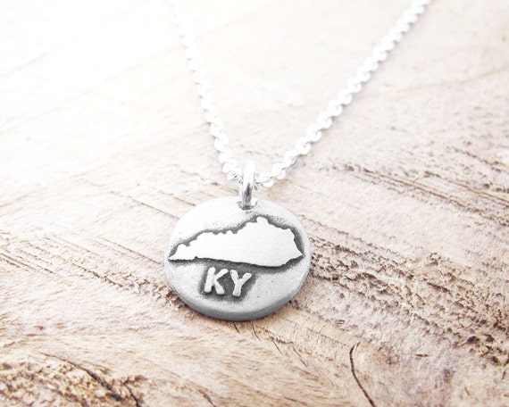tiny kentucky necklace silver state jewelry by lulubugjewelry